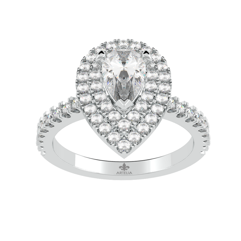 Pear Diamond Double Halo Ring (ARTDHR105)