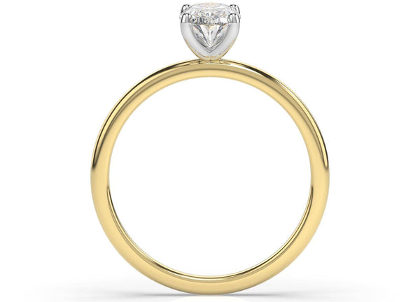 Two Tone Oval Diamond Solitaire Engagement Ring (ARTSR109)