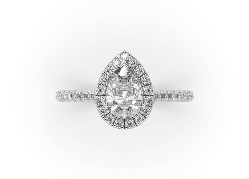 Pear Diamond Halo Ring (ARTHR039)