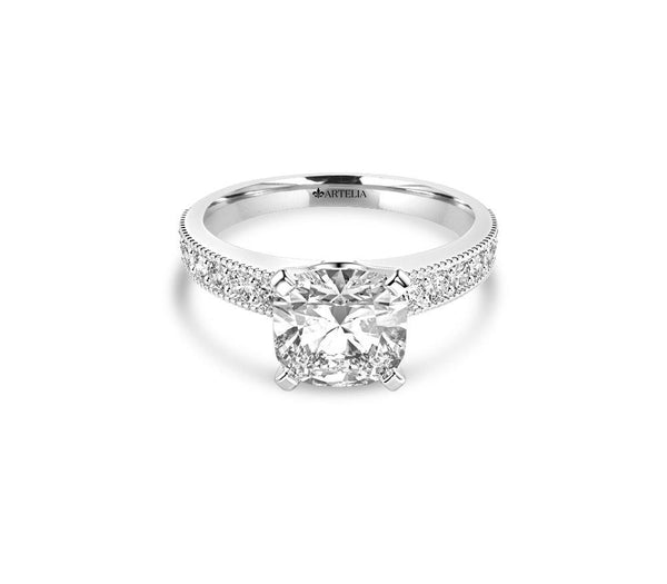 Cushion Diamond Solitaire Ring (ARTSR053)
