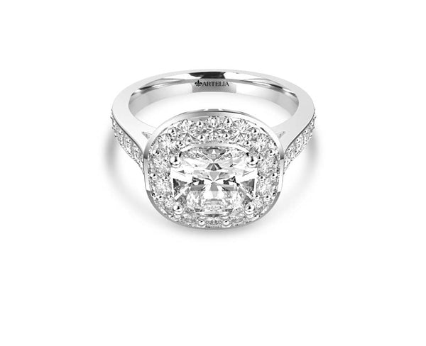 Cushion Diamond Halo Ring (ARTHR059)