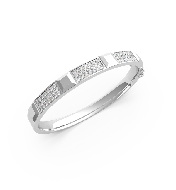 18K White Gold Bangle With Pave Diamonds