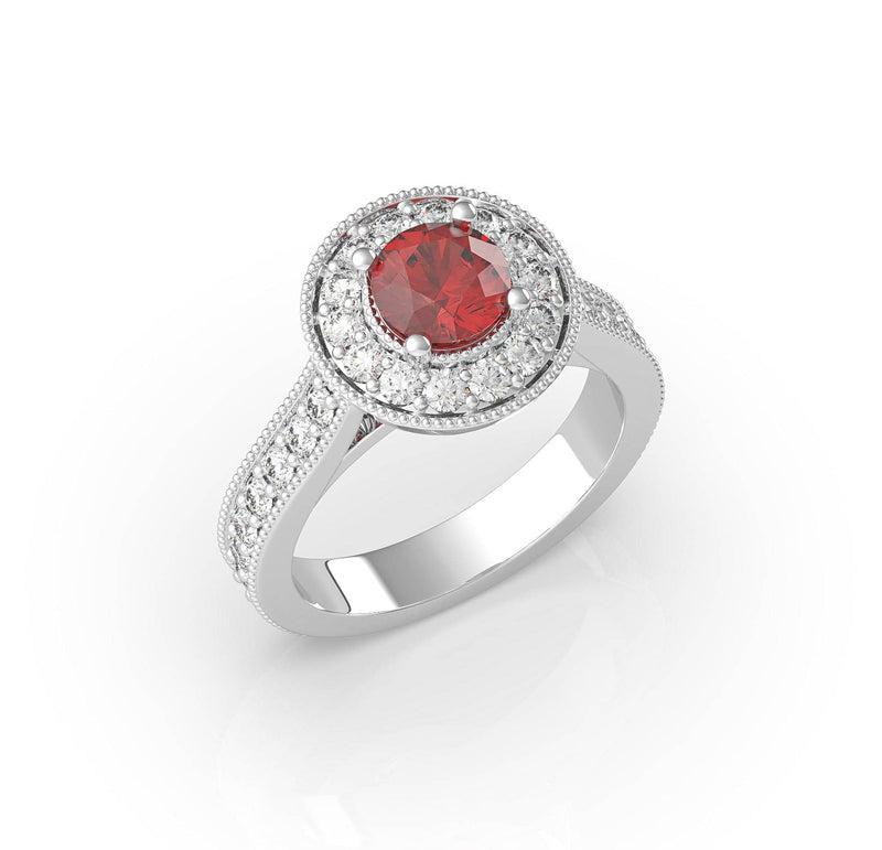 Ruby and Diamond Halo Ring (ARTCR009)