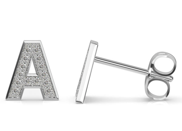Initials diamond earring A