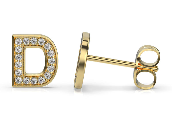 initials diamond earring d