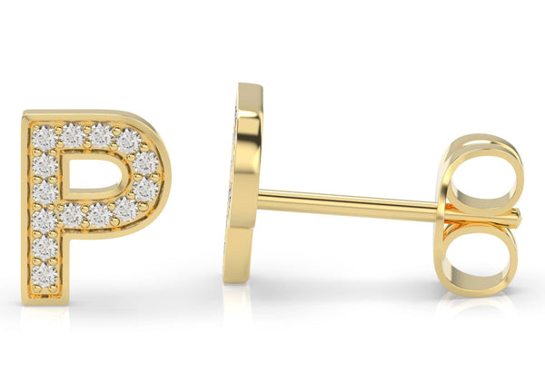 Initials Diamond Earring P