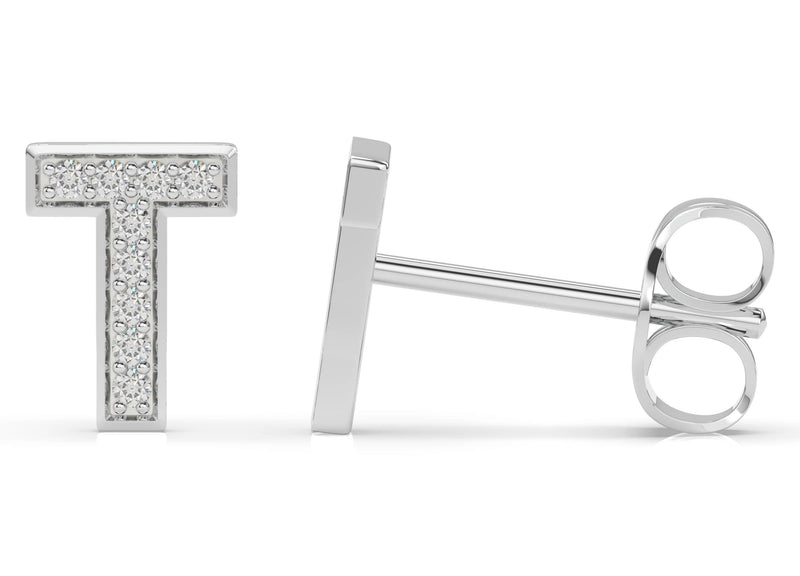 Initials diamond earring T