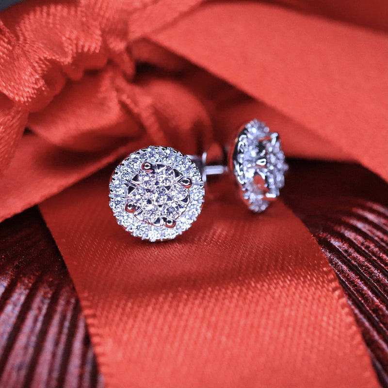 Diamond Cluster Stud Earrings.