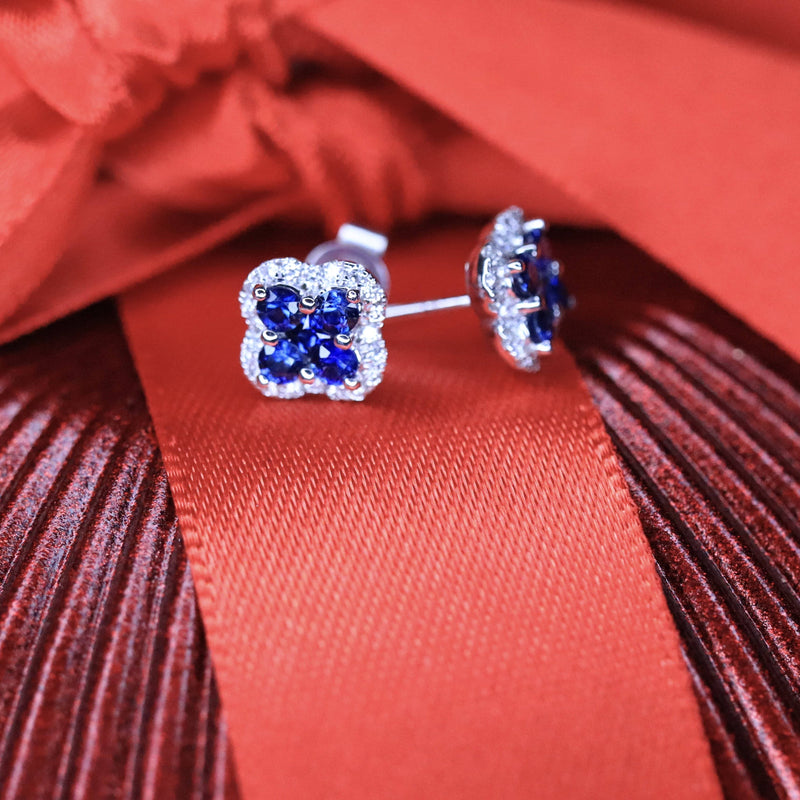 Sapphire & Diamond Stud Earrings.