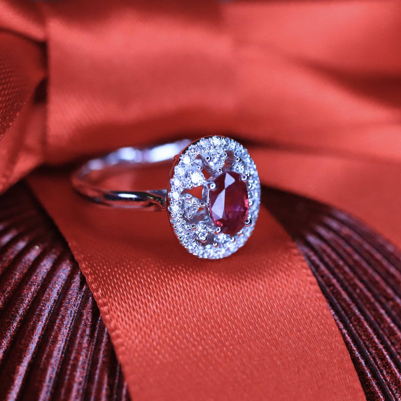 18K White Gold Oval Ruby Ring.