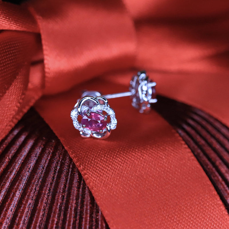 18K White Gold Ruby & Diamond Earrings.