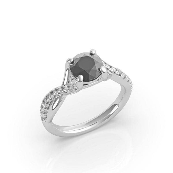 Round Black Diamond Solitaire Ring (ARTBSR01)
