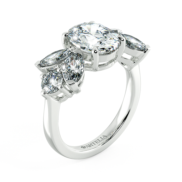 Oval Diamond Solitaire Ring With Marquise Diamond Accents