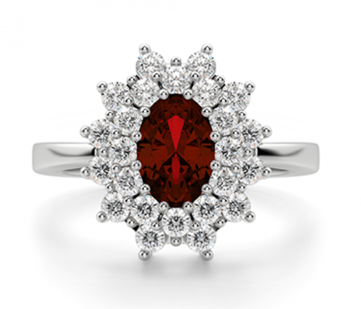 Elizabeth Ruby And Diamond Engagement Ring