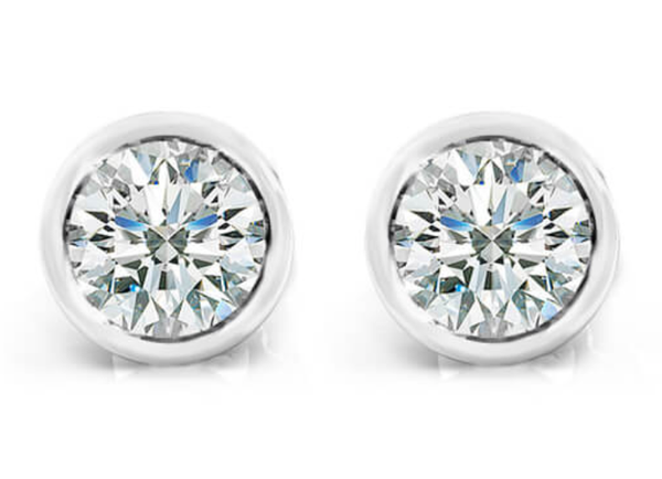 Round Diamond Bezel Set Studs