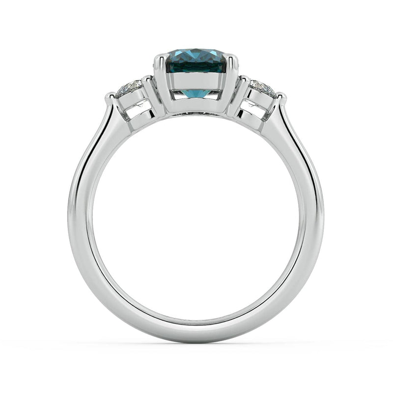 Allyra T Sapphire and Diamond Engagement Ring