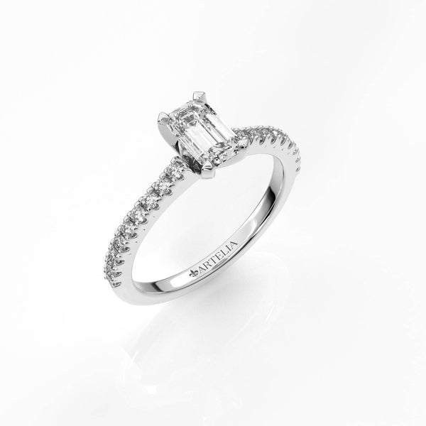 Emerald Cut Diamond Solitaire Ring (ARTSR106)