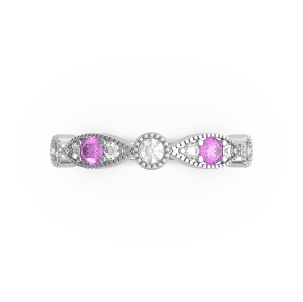 Pink and White Diamond Wedding Ring (ARTLDWR118)