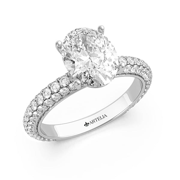 Oval Diamond Solitaire With A Pave Band (ARTSR079)