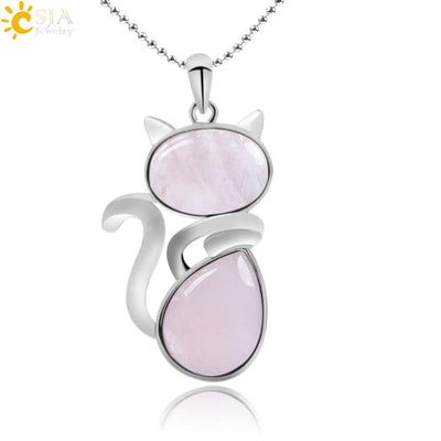 Natural Stone Cat Shape Necklaces Pendant CatLadies.store | Shop for Cats & Cat Lovers