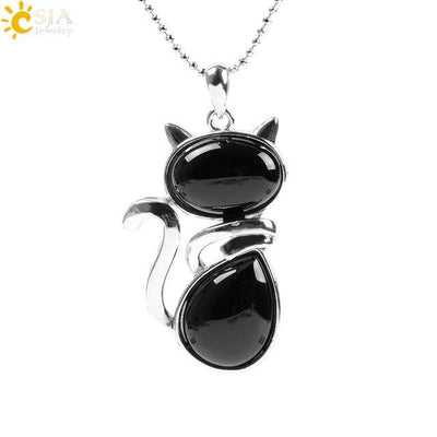 Natural Stone Cat Shape Necklaces Pendant CatLadies.store | Shop for Cats & Cat Lovers Black Agate