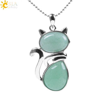 Natural Stone Cat Shape Necklaces Pendant CatLadies.store | Shop for Cats & Cat Lovers Green Aventurine
