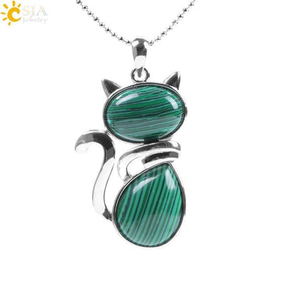 Natural Stone Cat Shape Necklaces Pendant CatLadies.store | Shop for Cats & Cat Lovers Malachite