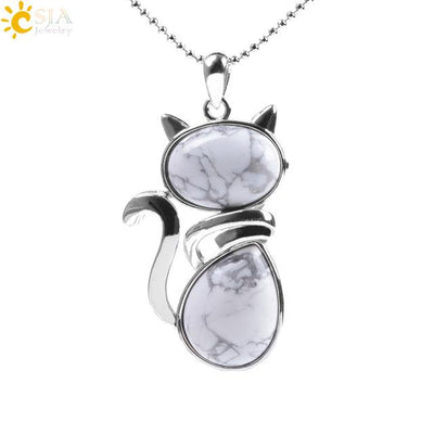 Natural Stone Cat Shape Necklaces Pendant CatLadies.store | Shop for Cats & Cat Lovers White Turquoise