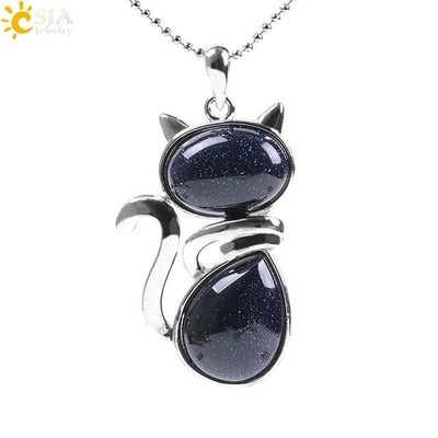 Natural Stone Cat Shape Necklaces Pendant CatLadies.store | Shop for Cats & Cat Lovers Blue Sand