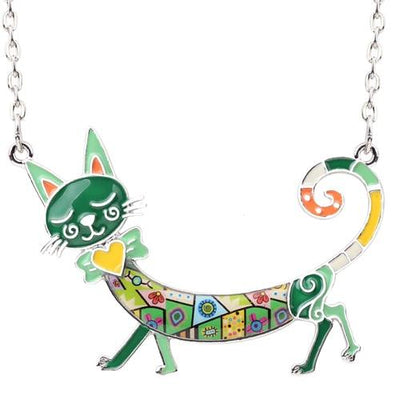 Original Bonsny Maxi Kitten Necklace CatLadies.store | Shop for Cats & Cat Lovers Green
