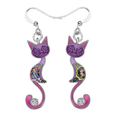 Original Bonsny Tail Cat Earrings CatLadies.store | Shop for Cats & Cat Lovers Purple
