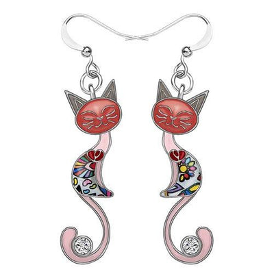 Original Bonsny Tail Cat Earrings CatLadies.store | Shop for Cats & Cat Lovers Pink