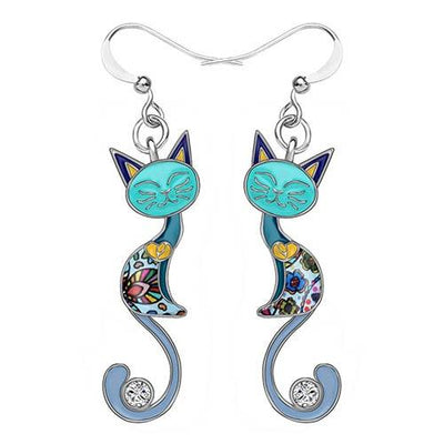 Original Bonsny Tail Cat Earrings CatLadies.store | Shop for Cats & Cat Lovers Blue