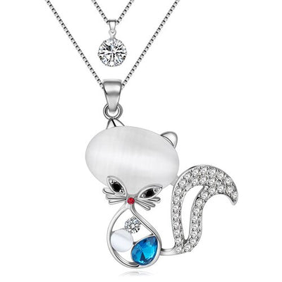 Original Bonsny  Crystal Cat Necklaces Pendant