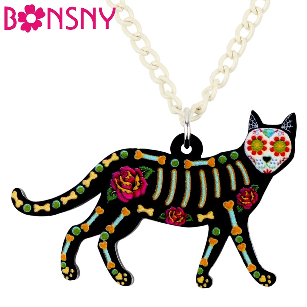 Original Bonsny Acrylic Halloween Floral  Cat Necklace Pendant