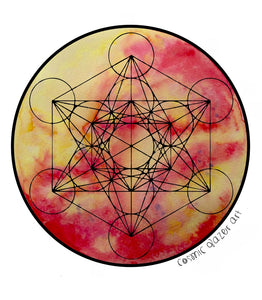 Solara Metatron sticker sacred geometry sunproof waterproof watercolor art
