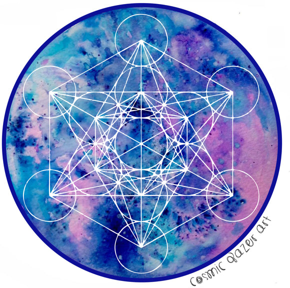 Zenetae Metatron sticker sacred geometry sunproof waterproof watercolor art