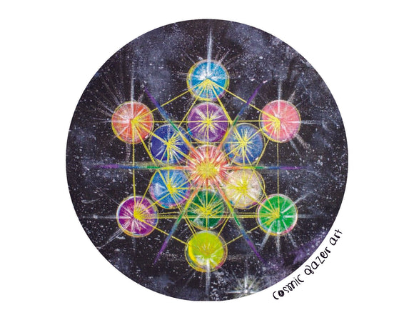 Rainbow Metatron (Round Version) Print