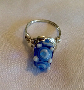 Wire Wrapped Ring Glass Blue Swirls