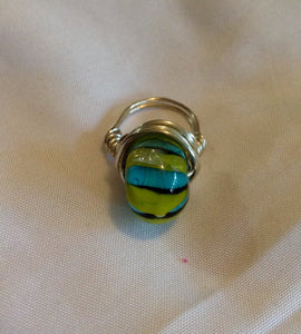 Wire Wrapped Ring Glass Green Aqua Stripe Silver