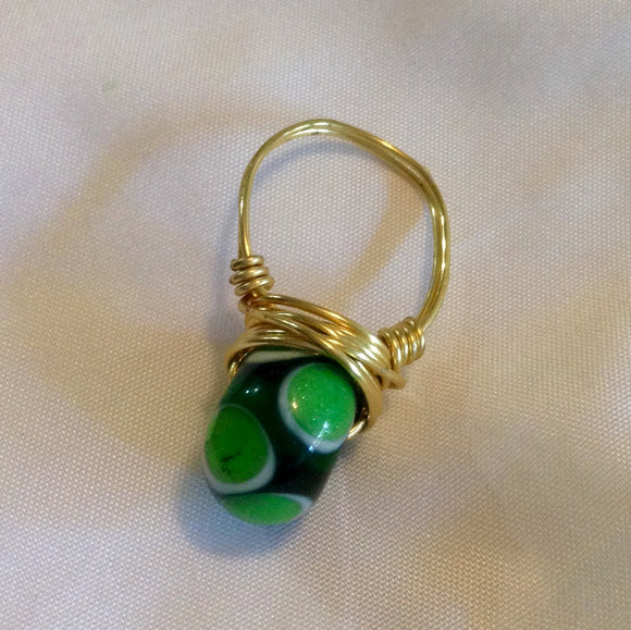Wire Wrapped Ring Glass Green Dot