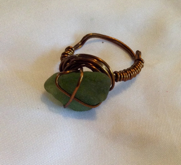 Wire Wrapped Ring Seaglass Green on Brass