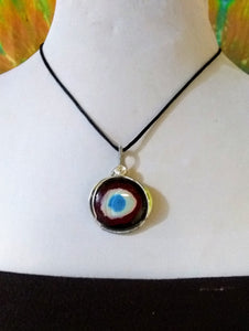 Gods Eye Nebula Evil Eye Protection pendant Wire Wrapped