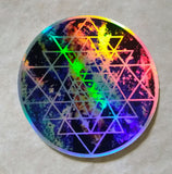 Geode Galaxy Sri Yantra Rainbow Holographic Cosmic Sacred Geometry sticker