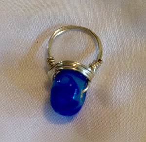 Wire Wrapped Ring Glass Ocean Blue