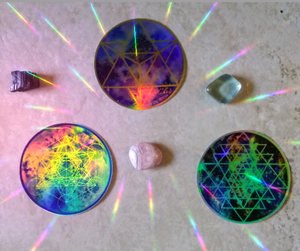 Celestial Merkabah (GOLD) Rainbow Holographic Cosmic Sacred Geometry sticker