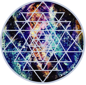 Geode Galaxy Sri Yantra sticker sacred geometry sunproof waterproof watercolor art