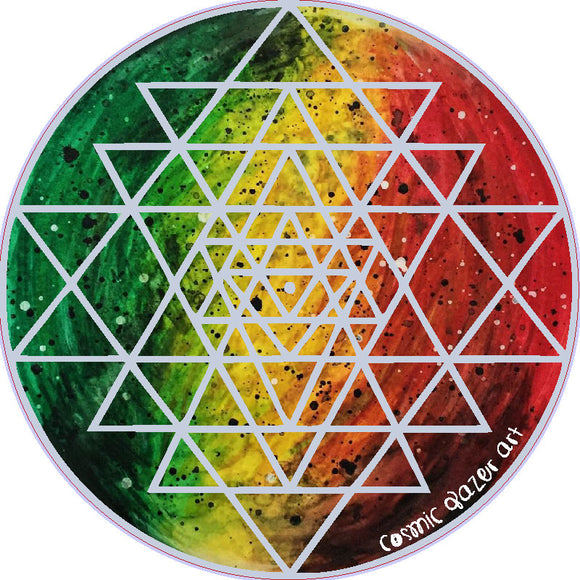 Rasta Sri Yantra sticker sacred geometry sunproof waterproof watercolor art