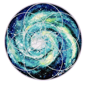Spiral Galaxy Seed of Life sticker sacred geometry sunproof waterproof watercolor art