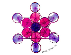 Tesla Metatron sticker sacred geometry sunproof waterproof watercolor art